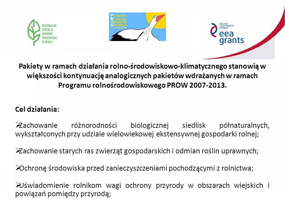 Pakiety w ramach działania rolno-środowiskowo-klimatycznego stanowią w większości kontynuację analogicznych pakietów wdrażanych w ramach Programu rolnośrodowiskowego PROW 2007-2013.
