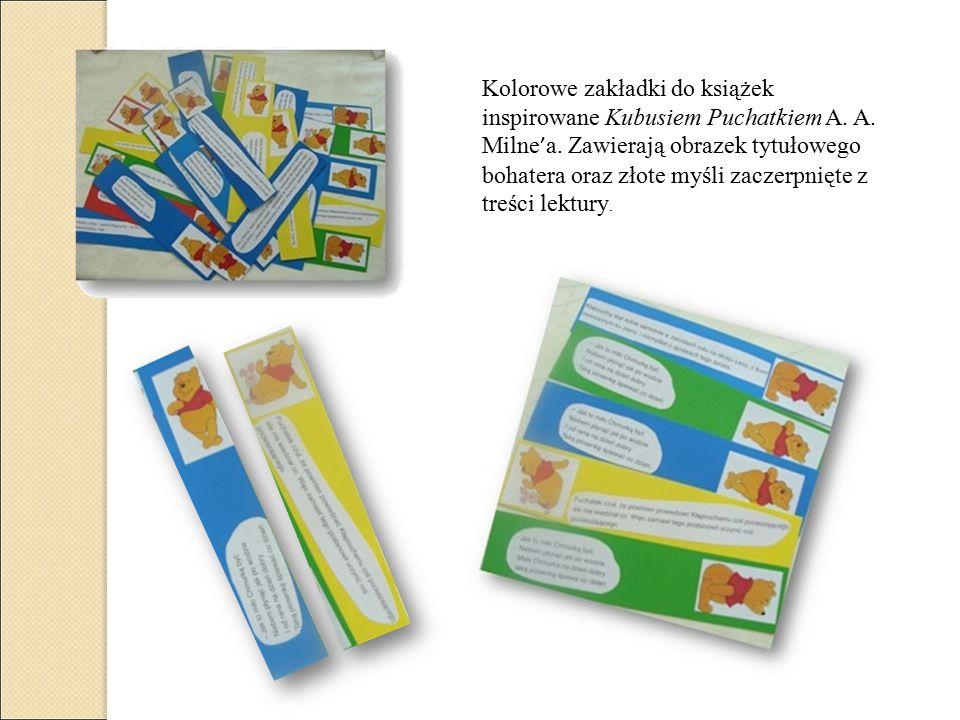 Kolorowe zakładki do książek inspirowane Kubusiem Puchatkiem A.