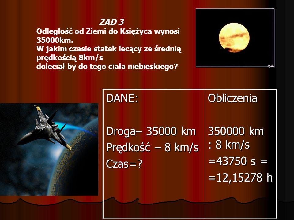 ZAD 3 Odległość od Ziemi do Księżyca wynosi 35000km. W jakim czasie statek lecący ze średnią prędkością 8km/s doleciał by do tego ciała niebieskiego?D