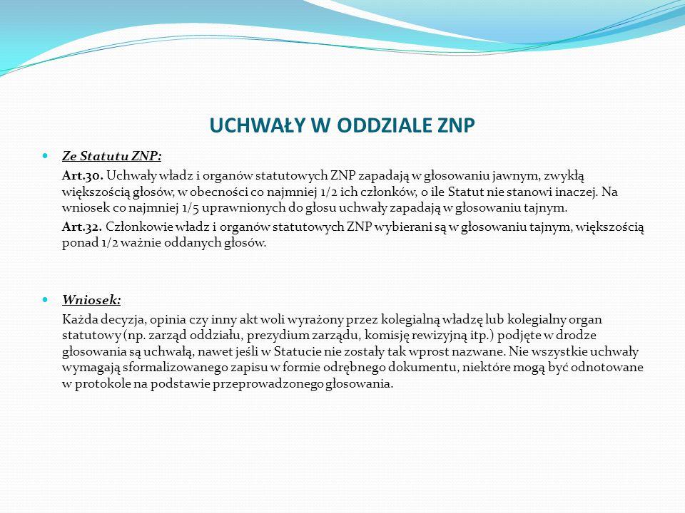 UCHWAŁY W ODDZIALE ZNP Ze Statutu ZNP: Art.30.