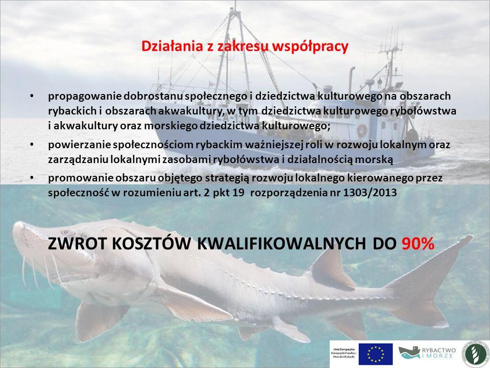 Działania z zakresu współpracy propagowanie dobrostanu społecznego i dziedzictwa kulturowego na obszarach rybackich i obszarach akwakultury, w tym dziedzictwa kulturowego rybołówstwa i akwakultury oraz morskiego dziedzictwa kulturowego; powierzanie społecznościom rybackim ważniejszej roli w rozwoju lokalnym oraz zarządzaniu lokalnymi zasobami rybołówstwa i działalnością morską promowanie obszaru objętego strategią rozwoju lokalnego kierowanego przez społeczność w rozumieniu art.
