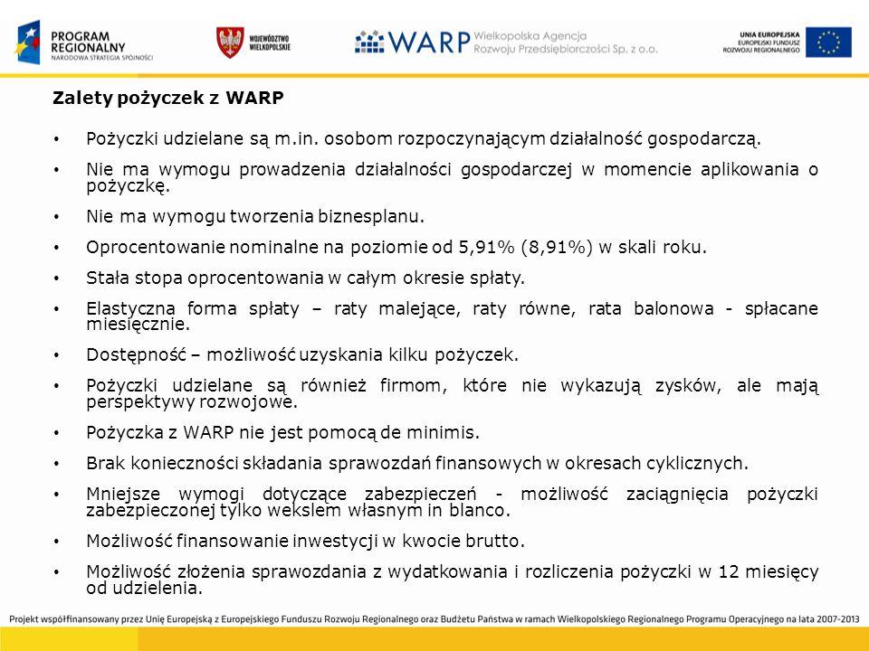 Zalety pożyczek z WARP Pożyczki udzielane są m.in.