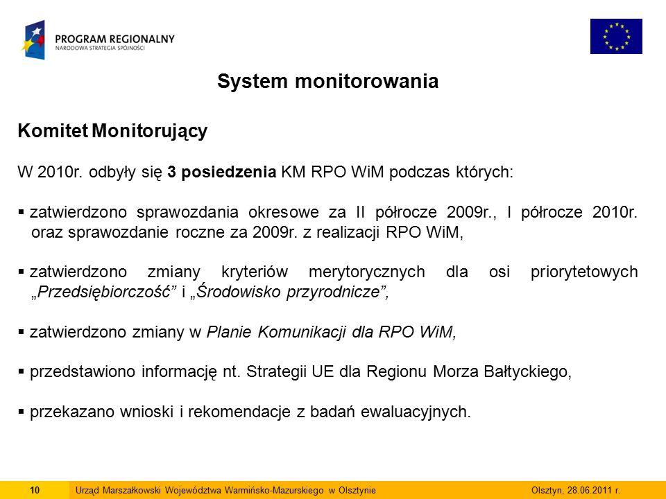 10Urząd Marszałkowski Województwa Warmińsko-Mazurskiego w Olsztynie Olsztyn, 28.06.2011 r.