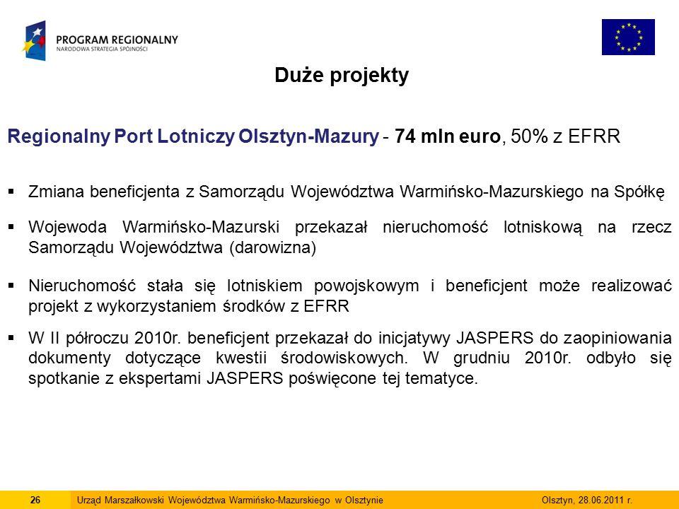 26Urząd Marszałkowski Województwa Warmińsko-Mazurskiego w Olsztynie Olsztyn, 28.06.2011 r.