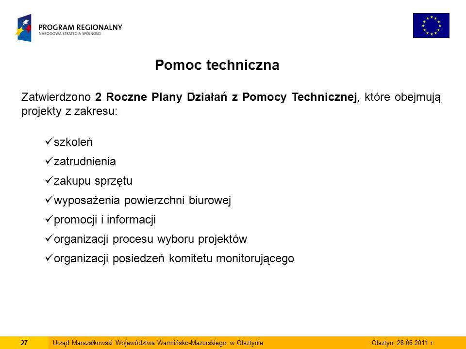 27Urząd Marszałkowski Województwa Warmińsko-Mazurskiego w Olsztynie Olsztyn, 28.06.2011 r.
