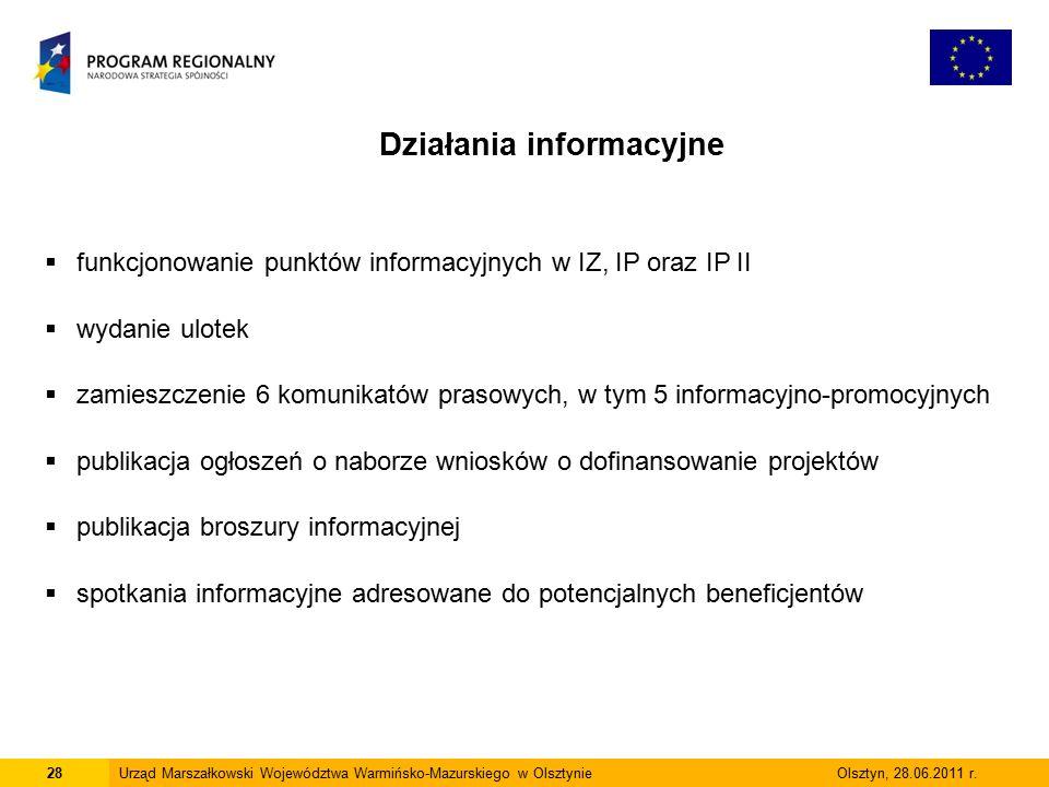 28Urząd Marszałkowski Województwa Warmińsko-Mazurskiego w Olsztynie Olsztyn, 28.06.2011 r.