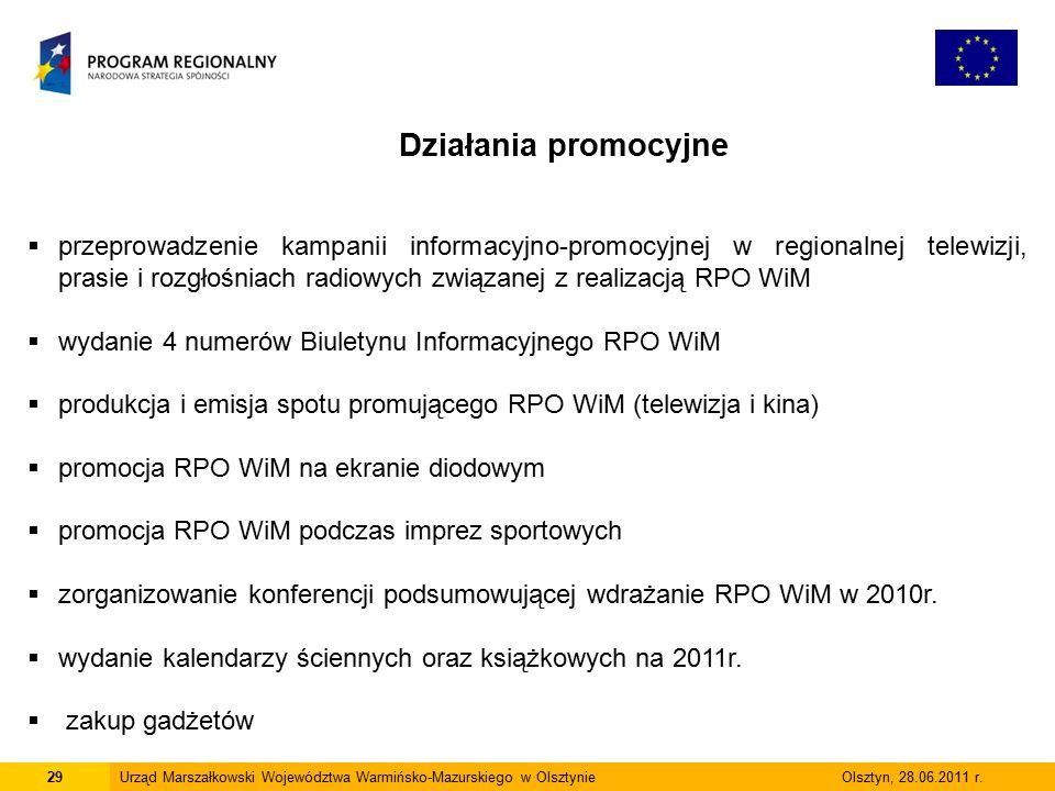 29Urząd Marszałkowski Województwa Warmińsko-Mazurskiego w Olsztynie Olsztyn, 28.06.2011 r.