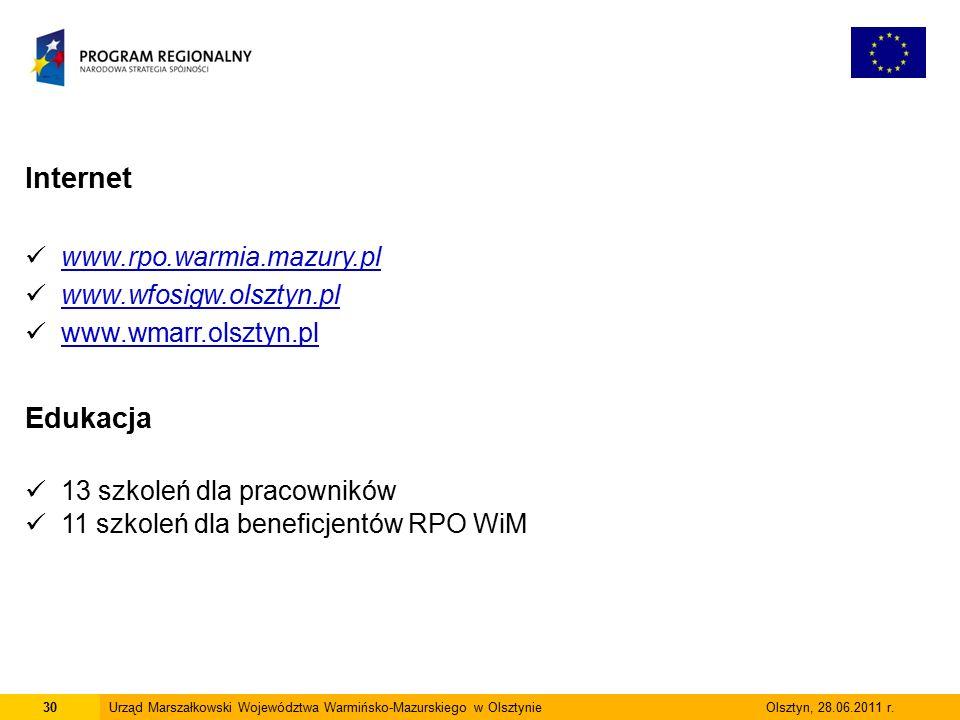 30Urząd Marszałkowski Województwa Warmińsko-Mazurskiego w Olsztynie Olsztyn, 28.06.2011 r.