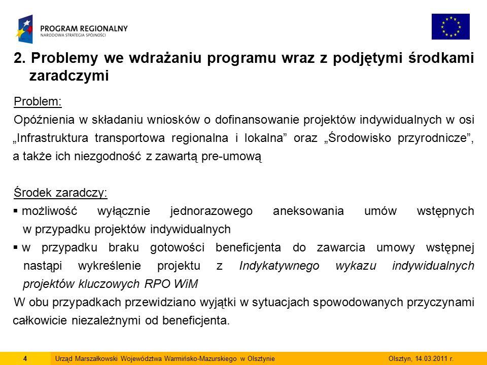 4Urząd Marszałkowski Województwa Warmińsko-Mazurskiego w Olsztynie Olsztyn, 14.03.2011 r.