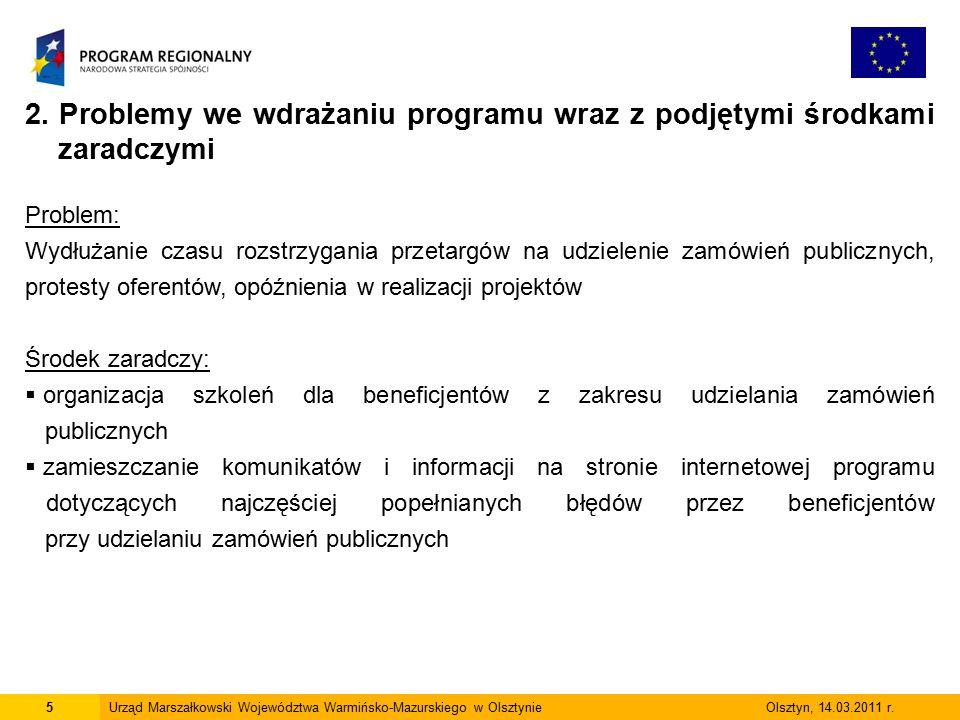 5Urząd Marszałkowski Województwa Warmińsko-Mazurskiego w Olsztynie Olsztyn, 14.03.2011 r.