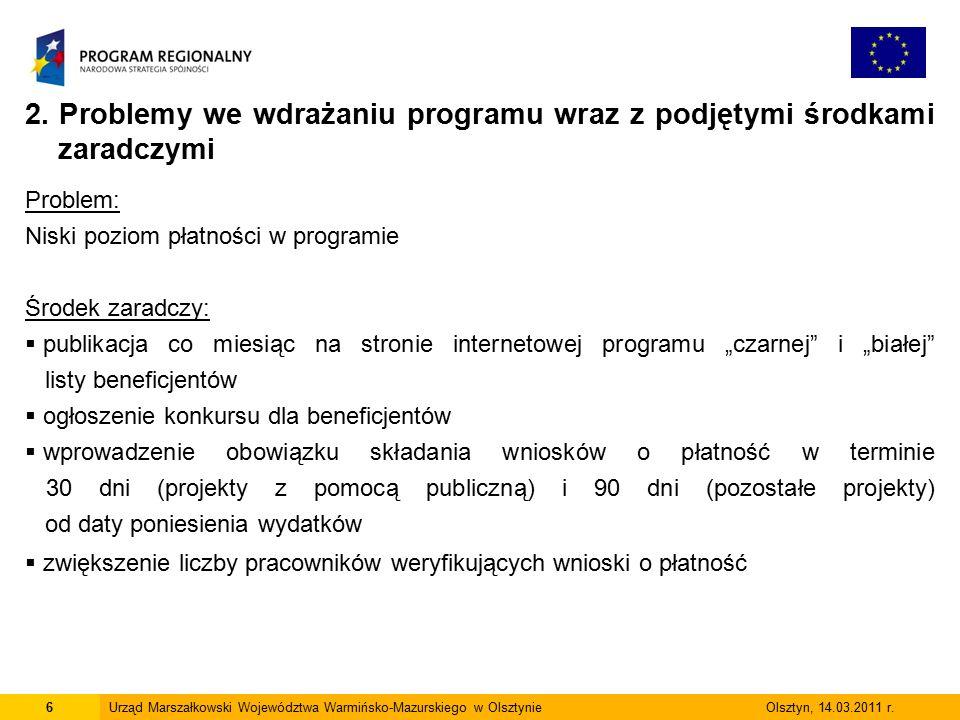 6Urząd Marszałkowski Województwa Warmińsko-Mazurskiego w Olsztynie Olsztyn, 14.03.2011 r.