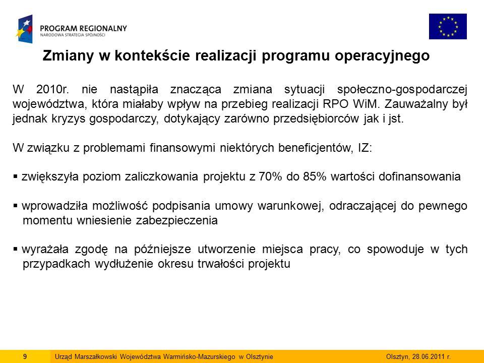 9Urząd Marszałkowski Województwa Warmińsko-Mazurskiego w Olsztynie Olsztyn, 28.06.2011 r.