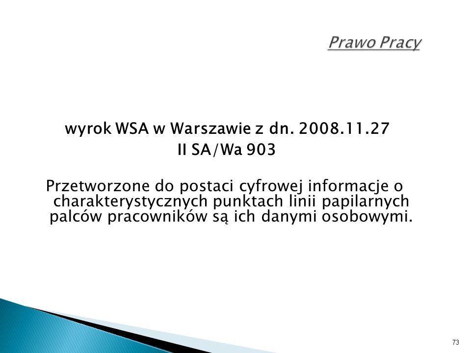 73 Prawo Pracy wyrok WSA w Warszawie z dn.