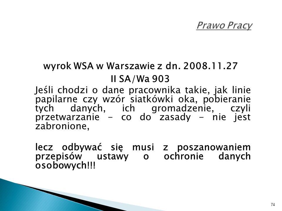 74 Prawo Pracy wyrok WSA w Warszawie z dn.