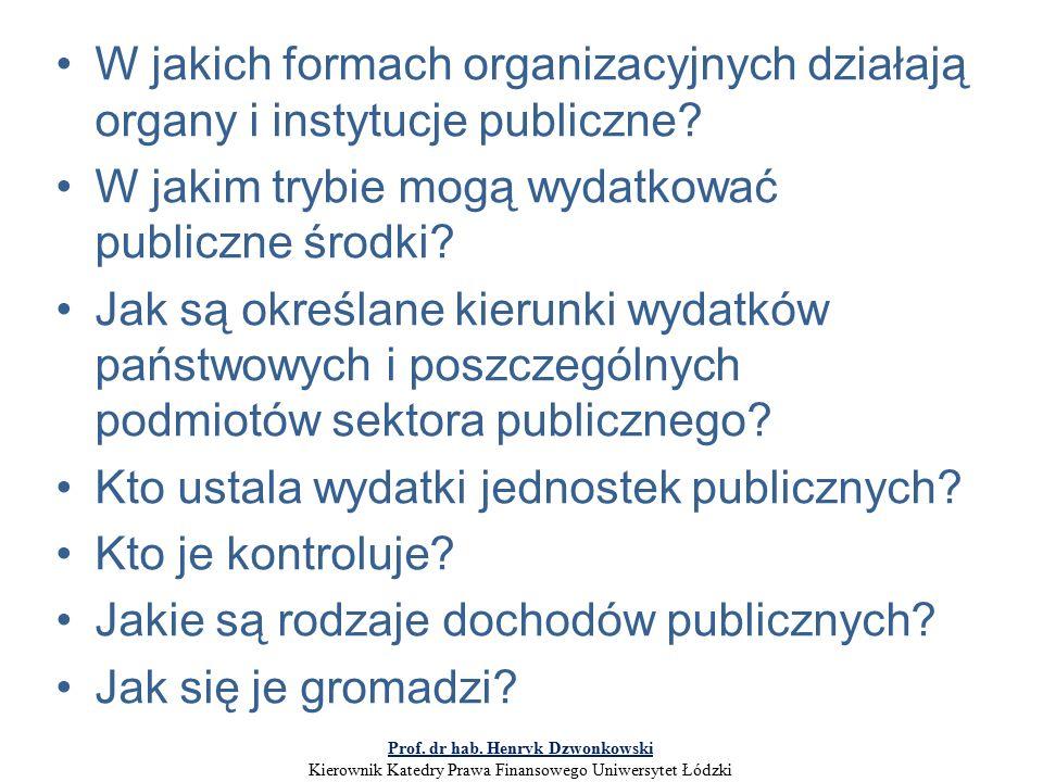 W jakich formach organizacyjnych działają organy i instytucje publiczne.
