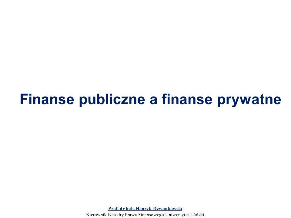 Finanse publiczne a finanse prywatne Prof. dr hab.