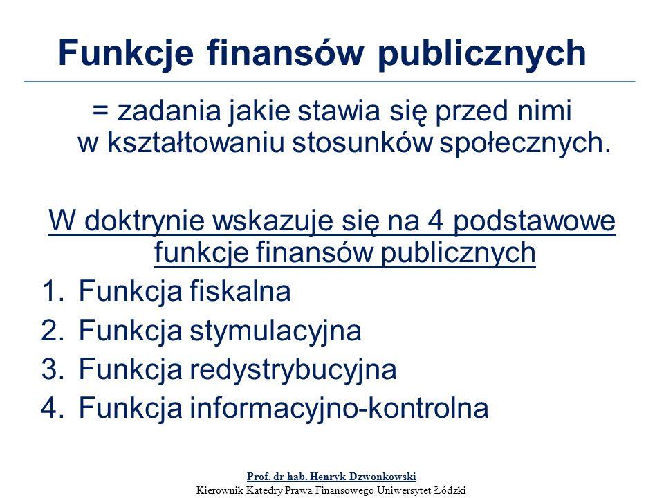 Funkcje finansów publicznych = zadania jakie stawia się przed nimi w kształtowaniu stosunków społecznych.