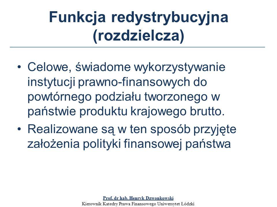 Funkcja redystrybucyjna (rozdzielcza) Celowe, świadome wykorzystywanie instytucji prawno-finansowych do powtórnego podziału tworzonego w państwie produktu krajowego brutto.