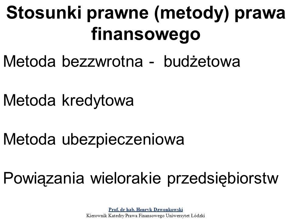 Stosunki prawne (metody) prawa finansowego Metoda bezzwrotna - budżetowa Metoda kredytowa Metoda ubezpieczeniowa Powiązania wielorakie przedsiębiorstw Prof.
