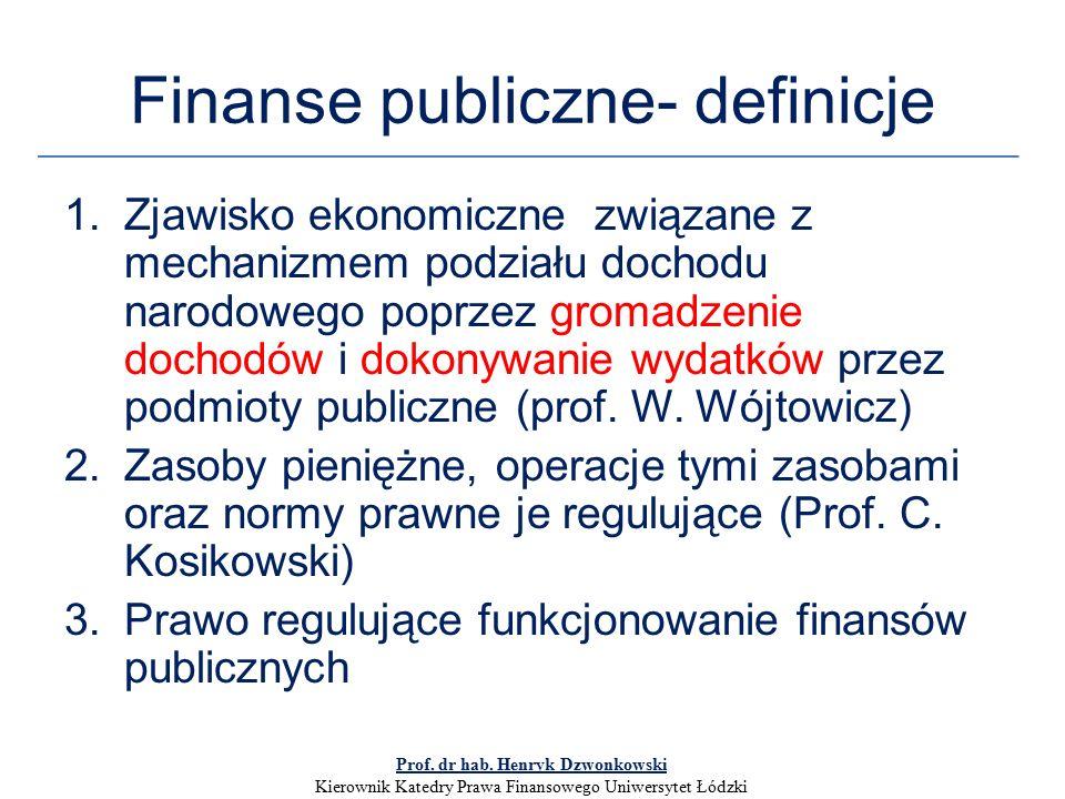 Finanse publiczne- definicje 1.Zjawisko ekonomiczne związane z mechanizmem podziału dochodu narodowego poprzez gromadzenie dochodów i dokonywanie wydatków przez podmioty publiczne (prof.