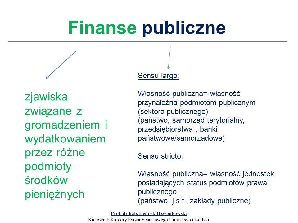 Finanse publiczne zjawiska związane z gromadzeniem i wydatkowaniem przez różne podmioty środków pieniężnych Sensu largo: Własność publiczna= własność przynależna podmiotom publicznym (sektora publicznego) (państwo, samorząd terytorialny, przedsiębiorstwa, banki państwowe/samorządowe) Sensu stricto: Własność publiczna= własność jednostek posiadających status podmiotów prawa publicznego (państwo, j.s.t., zakłady publiczne) Prof.