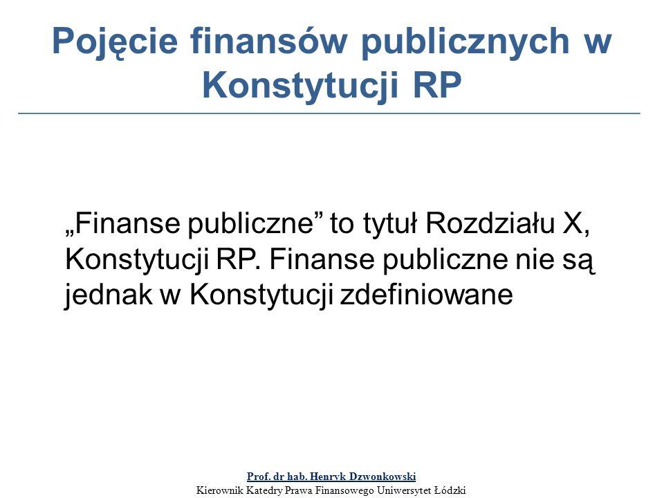 """Pojęcie finansów publicznych w Konstytucji RP """"Finanse publiczne to tytuł Rozdziału X, Konstytucji RP."""