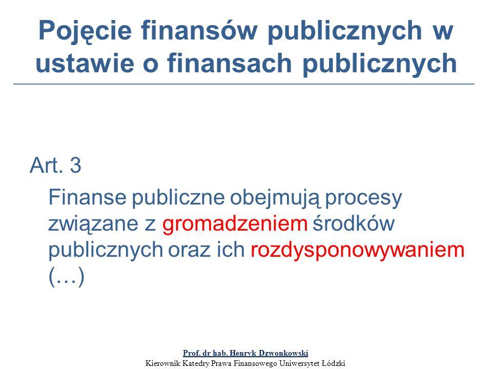 Pojęcie finansów publicznych w ustawie o finansach publicznych Art.