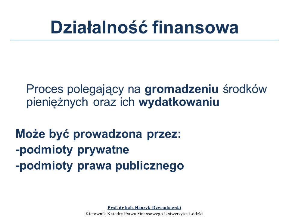 Działalność finansowa Proces polegający na gromadzeniu środków pieniężnych oraz ich wydatkowaniu Może być prowadzona przez: -podmioty prywatne -podmioty prawa publicznego Prof.