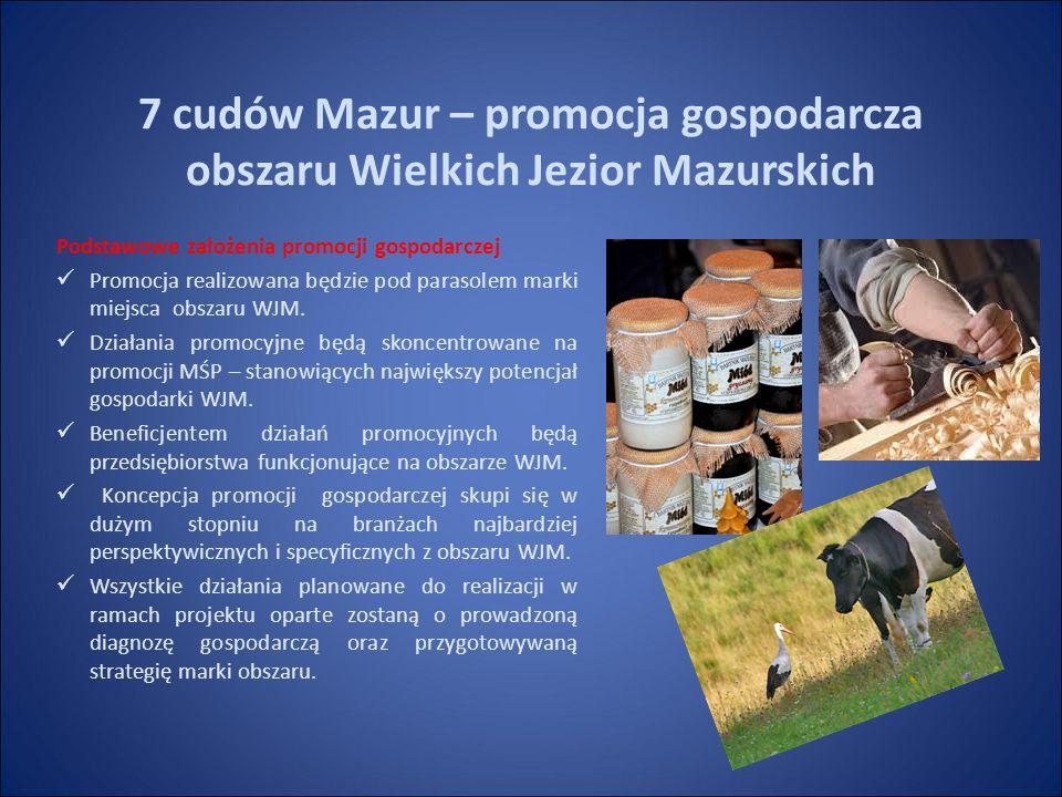 7 cudów Mazur – promocja gospodarcza obszaru Wielkich Jezior Mazurskich Podstawowe założenia promocji gospodarczej Promocja realizowana będzie pod parasolem marki miejsca obszaru WJM.