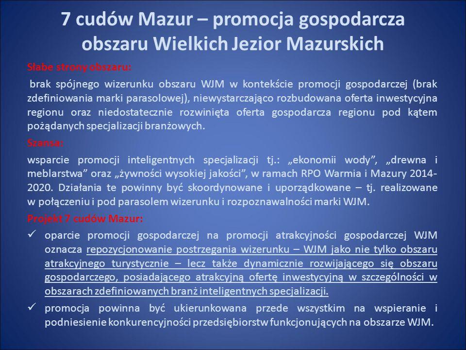 7 cudów Mazur – promocja gospodarcza obszaru Wielkich Jezior Mazurskich Słabe strony obszaru: brak spójnego wizerunku obszaru WJM w kontekście promocji gospodarczej (brak zdefiniowania marki parasolowej), niewystarczająco rozbudowana oferta inwestycyjna regionu oraz niedostatecznie rozwinięta oferta gospodarcza regionu pod kątem pożądanych specjalizacji branżowych.