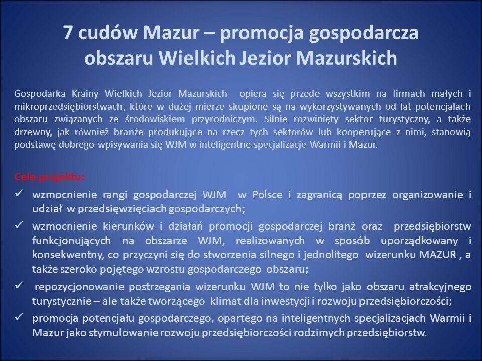 7 cudów Mazur – promocja gospodarcza obszaru Wielkich Jezior Mazurskich Gospodarka Krainy Wielkich Jezior Mazurskich opiera się przede wszystkim na firmach małych i mikroprzedsiębiorstwach, które w dużej mierze skupione są na wykorzystywanych od lat potencjałach obszaru związanych ze środowiskiem przyrodniczym.