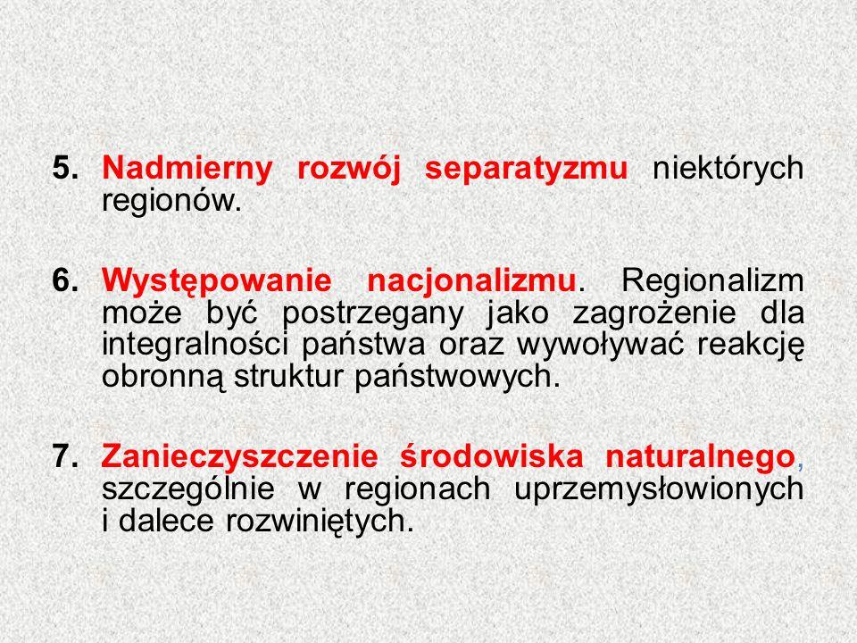 5.Nadmierny rozwój separatyzmu niektórych regionów. 6.Występowanie nacjonalizmu. Regionalizm może być postrzegany jako zagrożenie dla integralności pa
