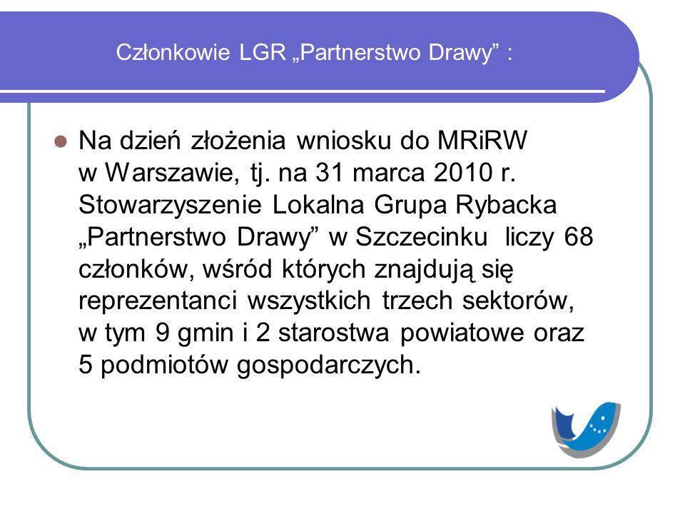 """Członkowie LGR """"Partnerstwo Drawy"""" : Na dzień złożenia wniosku do MRiRW w Warszawie, tj. na 31 marca 2010 r. Stowarzyszenie Lokalna Grupa Rybacka """"Par"""