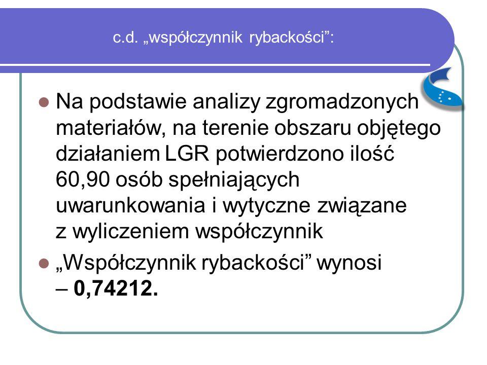 """c.d. """"współczynnik rybackości"""": Na podstawie analizy zgromadzonych materiałów, na terenie obszaru objętego działaniem LGR potwierdzono ilość 60,90 osó"""