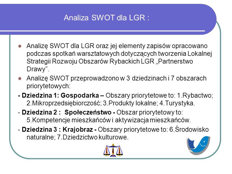 """Analiza SWOT dla LGR : Analizę SWOT dla LGR oraz jej elementy zapisów opracowano podczas spotkań warsztatowych dotyczących tworzenia Lokalnej Strategii Rozwoju Obszarów Rybackich LGR """"Partnerstwo Drawy ."""