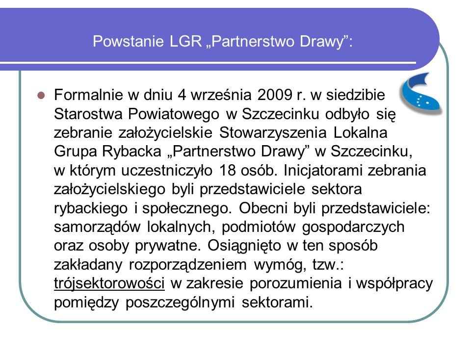 """Powstanie LGR """"Partnerstwo Drawy"""": Formalnie w dniu 4 września 2009 r. w siedzibie Starostwa Powiatowego w Szczecinku odbyło się zebranie założycielsk"""