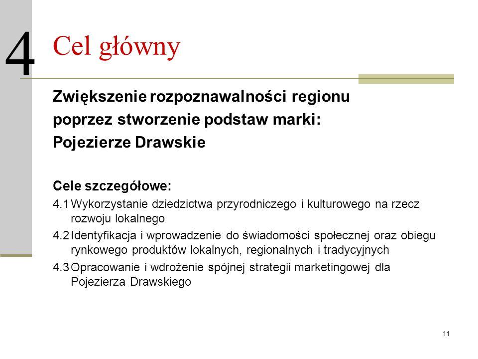 11 Cel główny Zwiększenie rozpoznawalności regionu poprzez stworzenie podstaw marki: Pojezierze Drawskie Cele szczegółowe: 4.1Wykorzystanie dziedzictw