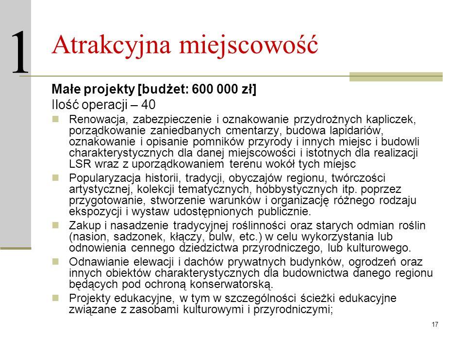 17 Atrakcyjna miejscowość Małe projekty [budżet: 600 000 zł] Ilość operacji – 40 Renowacja, zabezpieczenie i oznakowanie przydrożnych kapliczek, porzą