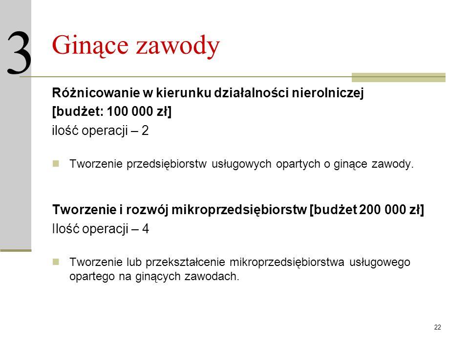 22 Ginące zawody Różnicowanie w kierunku działalności nierolniczej [budżet: 100 000 zł] ilość operacji – 2 Tworzenie przedsiębiorstw usługowych oparty