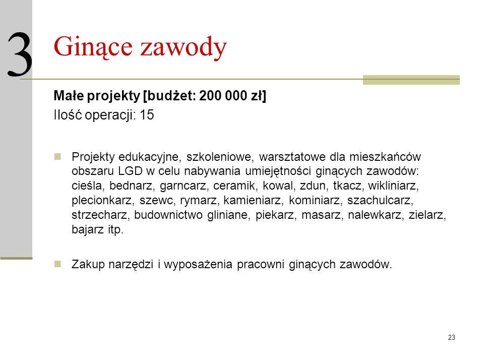 23 Ginące zawody Małe projekty [budżet: 200 000 zł] Ilość operacji: 15 Projekty edukacyjne, szkoleniowe, warsztatowe dla mieszkańców obszaru LGD w cel