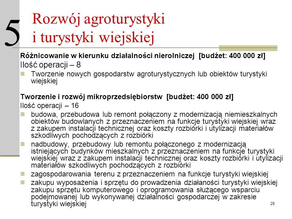 28 Rozwój agroturystyki i turystyki wiejskiej Różnicowanie w kierunku działalności nierolniczej [budżet: 400 000 zł] Ilość operacji – 8 Tworzenie nowy