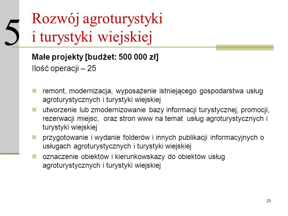 29 Rozwój agroturystyki i turystyki wiejskiej Małe projekty [budżet: 500 000 zł] Ilość operacji – 25 remont, modernizacja, wyposażenie istniejącego go
