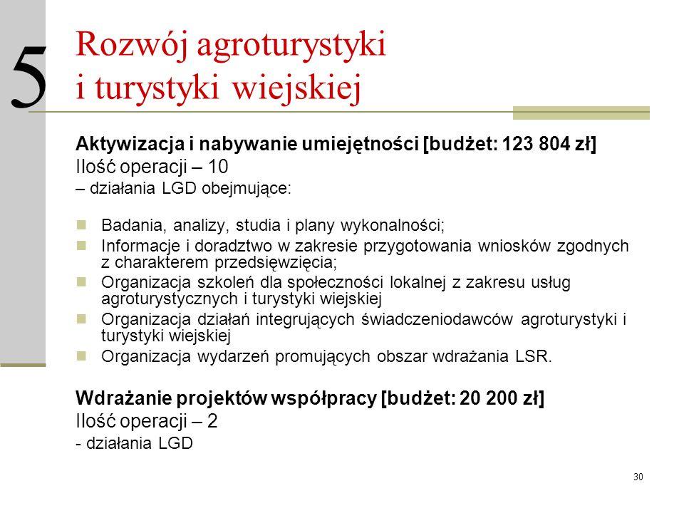 30 Rozwój agroturystyki i turystyki wiejskiej Aktywizacja i nabywanie umiejętności [budżet: 123 804 zł] Ilość operacji – 10 – działania LGD obejmujące