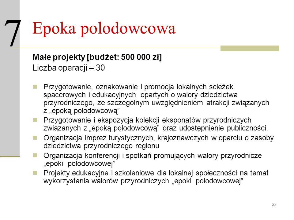 33 Epoka polodowcowa Małe projekty [budżet: 500 000 zł] Liczba operacji – 30 Przygotowanie, oznakowanie i promocja lokalnych ścieżek spacerowych i edu