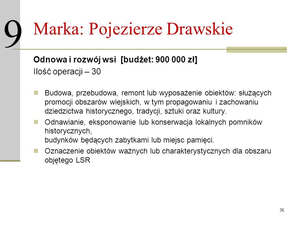 36 Marka: Pojezierze Drawskie Odnowa i rozwój wsi [budżet: 900 000 zł] Ilość operacji – 30 Budowa, przebudowa, remont lub wyposażenie obiektów: służąc