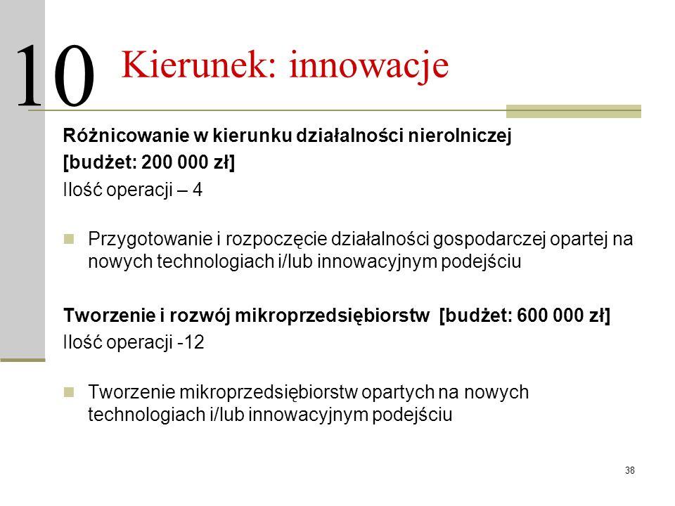 38 Kierunek: innowacje Różnicowanie w kierunku działalności nierolniczej [budżet: 200 000 zł] Ilość operacji – 4 Przygotowanie i rozpoczęcie działalno