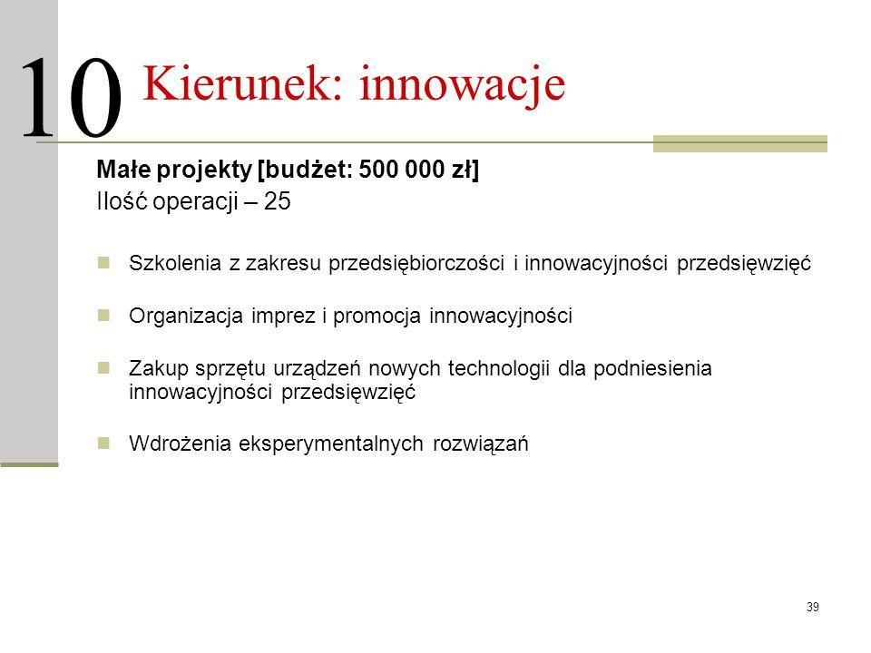 39 Kierunek: innowacje Małe projekty [budżet: 500 000 zł] Ilość operacji – 25 Szkolenia z zakresu przedsiębiorczości i innowacyjności przedsięwzięć Or
