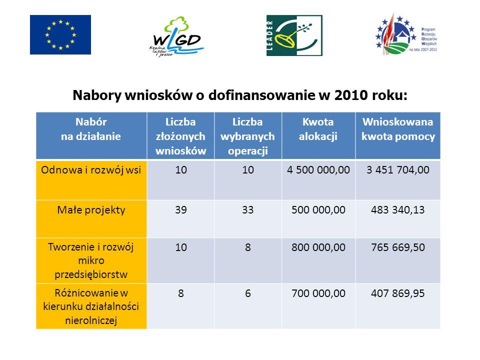 Nabory wniosków o dofinansowanie w 2010 roku: Nabór na działanie Liczba złożonych wniosków Liczba wybranych operacji Kwota alokacji Wnioskowana kwota