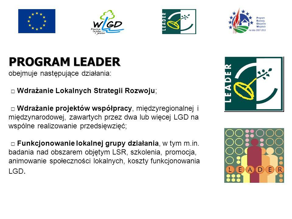 PROGRAM LEADER obejmuje następujące działania: □ □□ □ Wdrażanie Lokalnych Strategii Rozwoju; □ □□ □ Wdrażanie projektów współpracy, międzyregionalnej