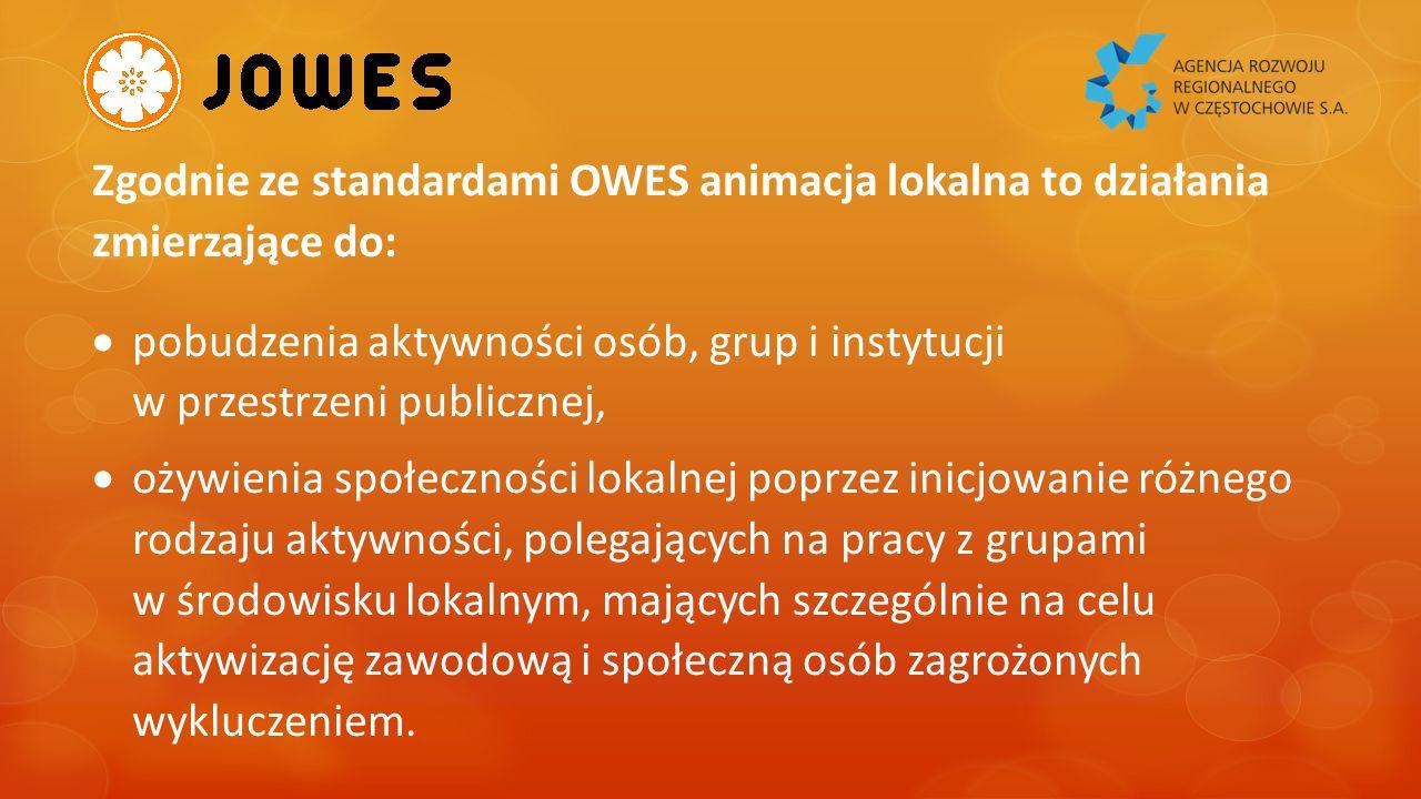 Działania (usługi) animacji lokalnej służyć powinny przede wszystkim:  Tworzeniu środowiska przyjaznego rozwojowi ekonomii społecznej  Zachęcaniu nowych podmiotów, osób i instytucji do angażowania się w różne formy działalności PES,  Zachęcaniu różnych podmiotów, instytucji i osób do wspierania PES, w tym przede wszystkim kupowania ich towarów i usług, przy wsparciu społecznie odpowiedzialnych zamówień publicznych.